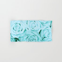 Turquoise roses - flower pattern - Vintage rose Hand & Bath Towel