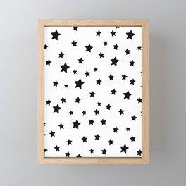 Black and White Stars Framed Mini Art Print