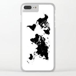 world map 94 black #worldmap #map #world Clear iPhone Case