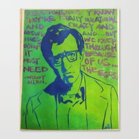 woody allen Canvas Prints featuring Woody Allen by Butterflymush
