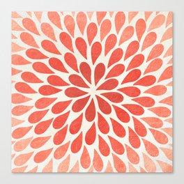 Living Coral Petal Burst Canvas Print