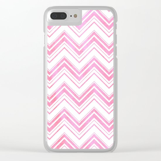 Chevron pattern pink watercolor on white #Society6 Clear iPhone Case