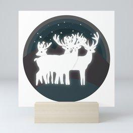 Night of reindeers Mini Art Print