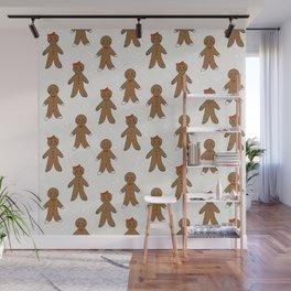 Gingerbread man cute cookies pattern gifts seasonal winter baking tradition Wall Mural