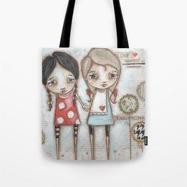 Never Far Away - Sister, Friend, Girlfriend art Tote Bag