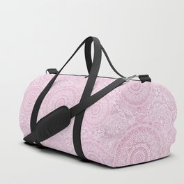 Delicate White Mandala Pattern On Pink Duffle Bag