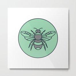 Bumble Bee Circle Mono Line Metal Print