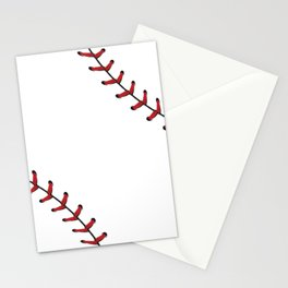 Softball Baseball design red laces Stationery Cards