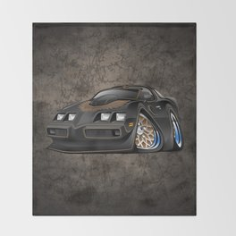 Classic '70s American Muscle Car Cartoon Throw Blanket