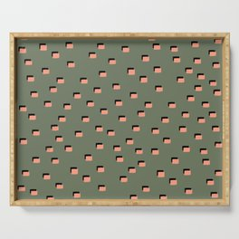 pixel khaki pink Serving Tray