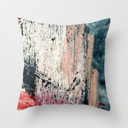 Kelly: a bold, textured, abstract mixed media piece in bright pinks, blues, and white Throw Pillow