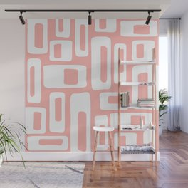 Retro Mid Century Modern Abstract Pattern 335 Peach Wall Mural