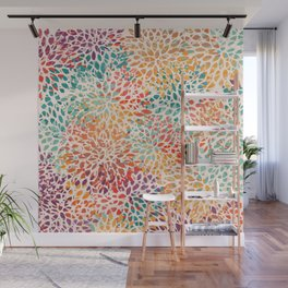 Floral Pattern, Colorful Petal Fragments Wall Mural