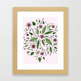 Hanging Among the Flowers & Leaves (PINK) Framed Art Print