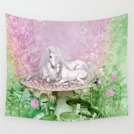 Wonderful unicorn with foal Wall Tapestry