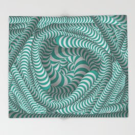 Mint green stripe illusion design Throw Blanket