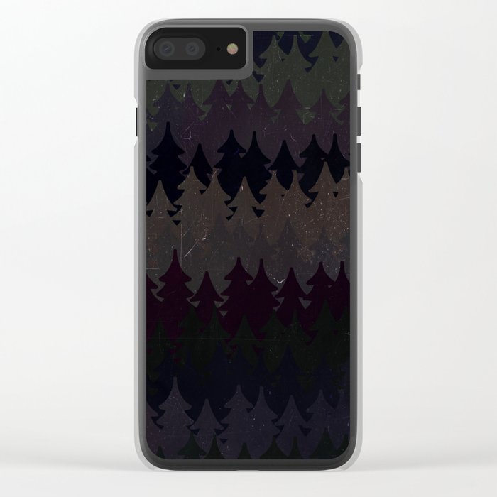 The secret forest at night - Abstract dark tree pattern Clear iPhone Case