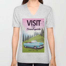 """Visit the Countryside """"Take the Car"""" Cartoon travel poster. Unisex V-Neck"""