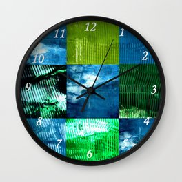 Blue green square Wall Clock