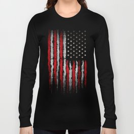 Red & white Grunge American flag Long Sleeve T-shirt
