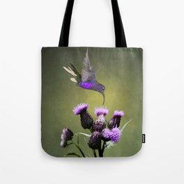 Violet Sabrewing Hummingbird and Thistle Tote Bag