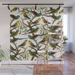 Colorful red green tropical birds parakeets pattern Wall Mural