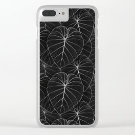 blackwork philodendron leaves Clear iPhone Case