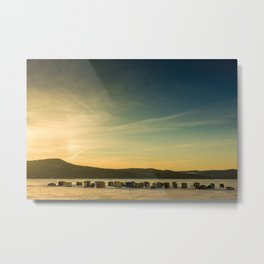 Ice Fishing on The Kennebecasis River Metal Print