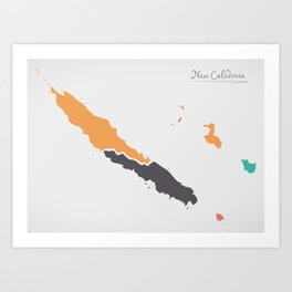 New Caledonia Map with states and modern round shapes Art Print