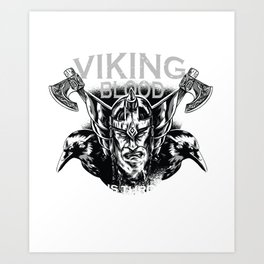Viking Vikings blood raven crow ax Art Print