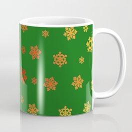 Snowflakes (Red & Gold on Green) Coffee Mug