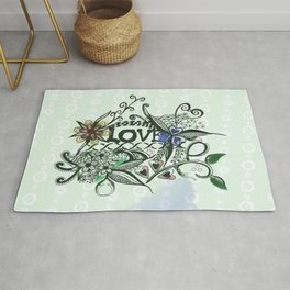"Pen and ink drawing illustration,""LOVE"" wall art, home decor design Rug"