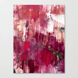 Sunset in the Valley [2]: a colorful abstract piece in reds, pink, gold, gray, and white Canvas Print