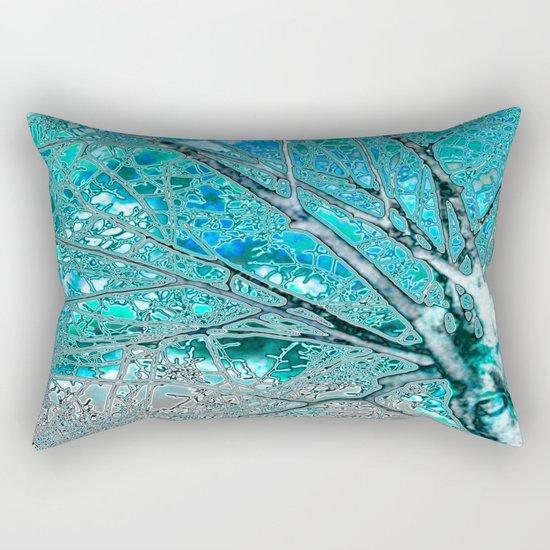 Digital Tree Cyan Rectangular Pillow