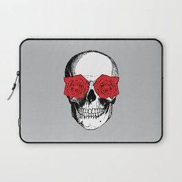 Skull and Roses | Grey and Red Laptop Sleeve