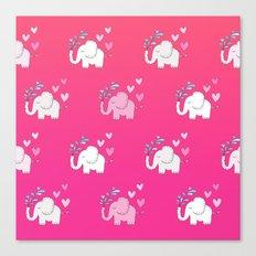 Elephant Love Walk Pink Canvas Print