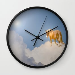 Walking on clouds over the blue sky Wall Clock