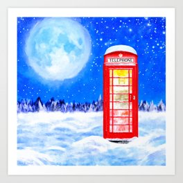 Winter In Great Britain - Red Telephone Box Artwork Art Print