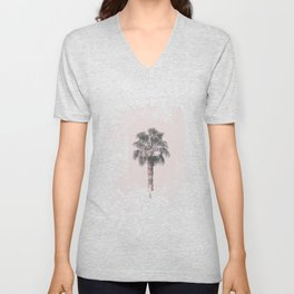 Tropical Palm Tree In Pastel Pink Light Unisex V-Neck