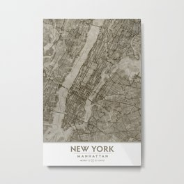 Warm Putty Beige Decor, Manhattan New York City, Antique Vintage Map Metal Print