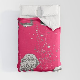 Two Tailed Duck and Jellyfish Bright Red Pink Comforters