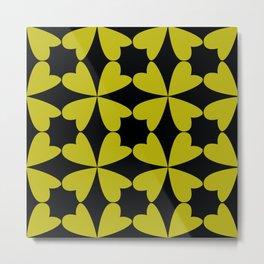 yellow quatrefoils  on black background Metal Print
