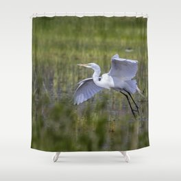 Egret in Flight Shower Curtain