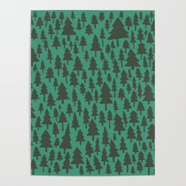 Pacific Northwest Forest Pattern Poster