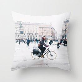 Biking in Milan Throw Pillow