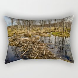 Spring sky reflected in backwaters beaver dams Rectangular Pillow