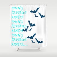 bats Shower Curtains featuring Bats by Young Devious Minds