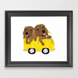 Dogs in a Bus on Vacation Framed Art Print