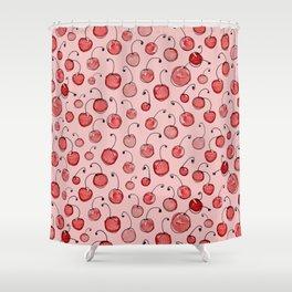 Cherries on pink Shower Curtain
