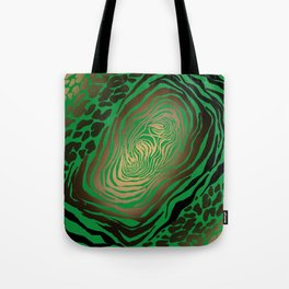 Trendy Golden and green zebra print  Tote Bag